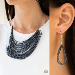❤️Navy Beaded Necklace Set